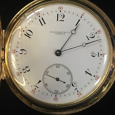 """ANTIQUE AUTHENTIC """"TIFFANY & CO"""" GENEVE CHRONOMETER POCKET WATCH 51mm 18K GOLD"""