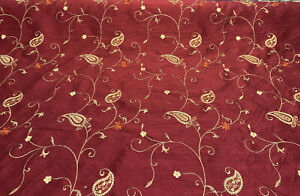 Merlot Red Bel Air Embroidered Paisley Slub Faux Silk Fabric by the yard