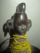 Vintage African Cameroon Namji Doll With Beads And Copper