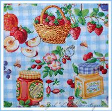 BonEful Fabric Cotton Quilt Red Flower Cherry Straw*berry Jelly Jam Jar FQ SCRAP