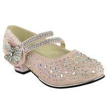 Enfants Filles Haut Mi Talon Strass Chaussures De Soirée Demoiselle D'Honneur