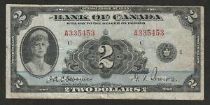 1935 CANADA (ENGLISH TEXT) 2 DOLLAR NOTE