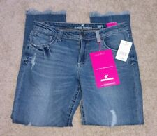 Almost Famous Women's Dark Wash Relaxed Fit Blue Ripped Girl Friend Jeans SIZE 3