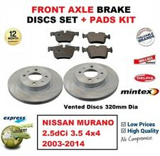 FOR NISSAN MURANO 2.5dCi 3.5 4x4 2003-2014 FRONT AXLE BRAKE PADS + DISCS (320mm)