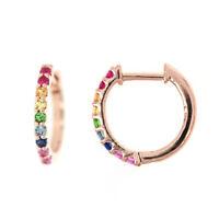 Rainbow Sapphire Huggie Earrings, Multi Colored Sapphire Hoop Rainbow Earrings