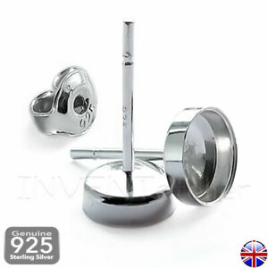 Solid Sterling Silver 925 Round Ear Stud Bezel Set 4-12mm Cabochon  Resin _452