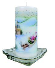 GOLD DAMASK Hand Decorated Pillar Candle 50hrs 15cmx 6cm