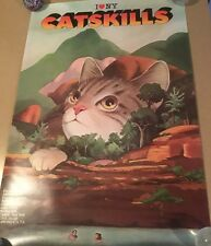 RARE 1985 Catskills Poster Milton Glaser I Love NY Cat New York Hudson Valley