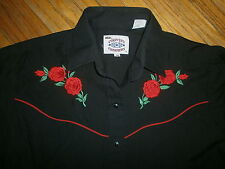 vtg WOMENS WESTERN SHIRT Cowgirl Pearl Snaps Country Charmer Embroidered Roses
