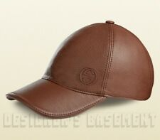 GUCCI chestnut brown S LEATHER Interlocking G embroidery Baseball Hat NWT Authen