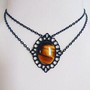 Tigers Eye Choker Short Necklace Genuine Natural Gemstone Crystal Cabochon