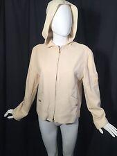 Ralph Lauren Ivory Nautical Zip Hood Short Jacket Lined Worsted Wool Sz M
