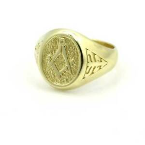 Solid 9ct Yellow Gold Masonic Square & Compass Seal Ring