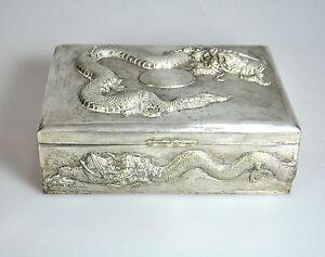 ANTIQUE COPPER SILVER JAPAN JAPANESE MEIJI DRAGON JEWELERY CIGAR CASE BOX 1910