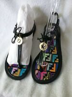 Exclusive Authentic FENDI Multicolored F Pattern Black Jelly Thong Sandals Sz 7