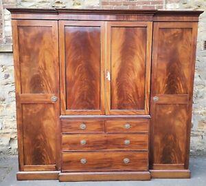 Large Early 19th Century Figured Mahogany Break Front Wardrobe / Linen Press