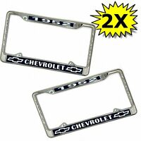 "1952 Chevrolet license plate frame new chrome steel for 6"" by 12"" plate 2 Pieces"