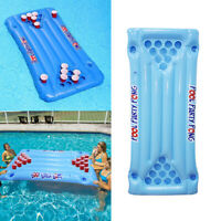 Inflatable Beer Pong Raft Floating Pool Pong Game Lounger with Cup Drink Holder