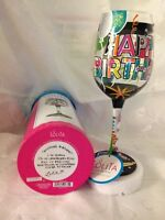 "Lolita Wine Glass, Hand-painted with ""Another Birthday"""