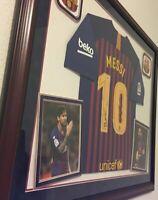 "🐐VERY RARE WOOD FRAMED Autographed LIONEL ""LEO"" MESSI Barcelona Jersey & COA."