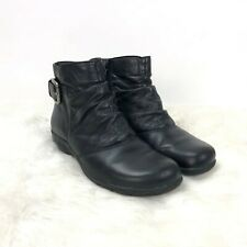 Clarks 7 M Womens Black Leather Zip-up Ankle Booties
