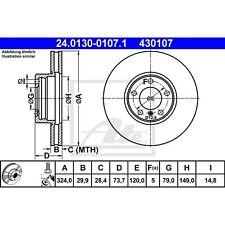 Original ate conjunto de los discos de freno delanteros bmw 24013001071 nuevo embalaje original