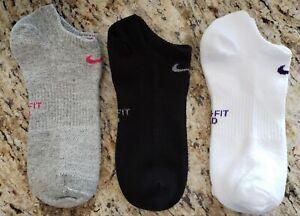 3 Pair Nike Womens Socks Dri-Fit / No Show (White,Black,Grey)