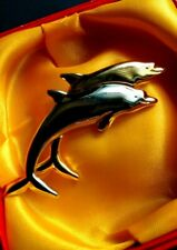 BEAUTIFUL Gold & Silver Plated SWIMMING DOLPHINS Pin Brooch - Liz Claiborne