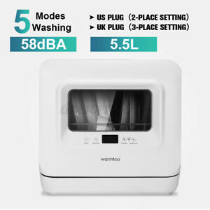 Electric Freestanding Mini Countertop 5 Wash Program Dishwasher with Glass Front