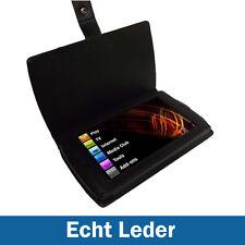 Schwarz Echtes Leder Tasche für Archos 7 Home Tablet 8GB Hülle Case Etui
