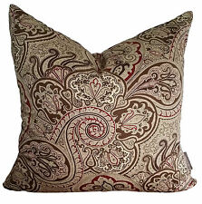 Waverly Paddock Shawl Espresso Designer Vintage Pillow Cushion Cover - Paisley