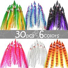 "30pcs 5"" Squid Skirts Wave 6 colors Hoochies Fishing soft Lures Trolling Octopus"
