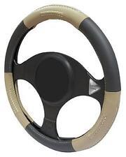 TAN/BLACK LEATHER Steering Wheel Cover 100% Leather fits SAAB