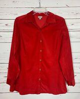 J.Jill Women's S Small Red Corduroy Long Sleeve Button Up Tunic Top Shirt Blouse