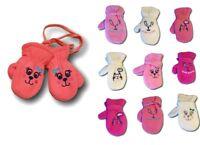 Baby Girl Toddler Children Winter Fleece Mittens Gloves With String Size1-3Years
