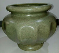 Vintage Haeger Pottery Sage Green Speckled Glaze Fluted Vase/Planter, #195-034