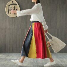 Women Casual Skirt Cotton Loose A-Line Elastic Mid-Calf Waist Spring Summer Maxi