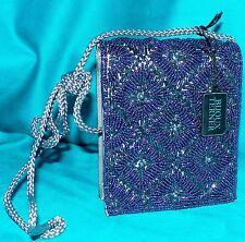 Bijoux Terner Bugle Beaded Gunmetal Box Crossbody Clutch Purse Evening Prom Bag