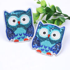 10pcs/lot Cartoon Owl Patch Iron On Sequined Animal Stickers DIY Embroidery