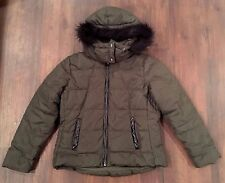 OLD NAVY Women's Frost Free Hooded Jacket Puffer Coat Green w/ Fur Trim Large