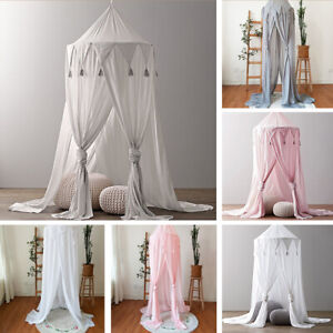 Kids Baby Chiffon Bed Canopy Bedcover Mosquito Triangle Tassel Star Chiffon Tent