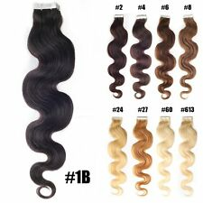 """Seamless Tape-In Skin Weft 100% Indian Remy Human Hair Extensions Body Wavy 20"""""""