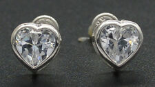 2.00 Ct Emerald 14k Solid White Gold Heart Stud Earrings