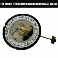 For Ronda 515 Genuine Quartz Movement Date At 3' Watch Replacement Accessories