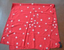 Switzerland Cornelia Hesse Honegger Red Silk Scarf edelweiss flowers design