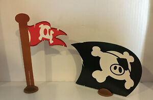 Flag Sail & Stands Original Parts for Angry Birds Go! Pirate Pig Attack Game