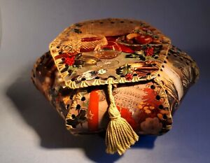 Vintage1960s Hexagonal Sewing/ Work Basket/ Box. Kitsch Christmas Still Life