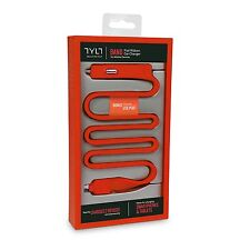 Tylt Micro USB Car Charger Built-In USB port 2.1A For Samsung Galaxy S7 S6 - Red