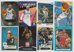 (8) DIFFERENT Allen Iverson 2009-2019 SELECT ++ INSERT & BASE LOT SIXERS 76ERS