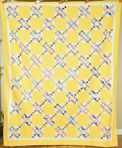 Large WELL QUILTED Vintage 30s Jacob's Ladder Antique Quilt ~NICE YELLOW GROUND!